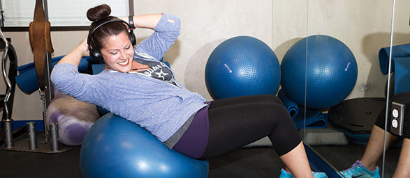 An OCU Employee does abdominal exercises