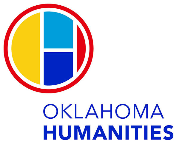 oklahoma humanities logo, a multicolored circle containing shapes that form the letter H