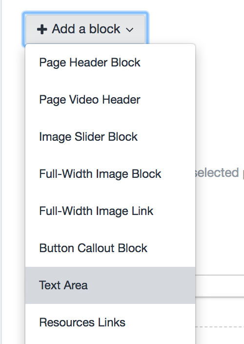 Clicking the +Add a block button shows the types of content blocks you can add to a page.
