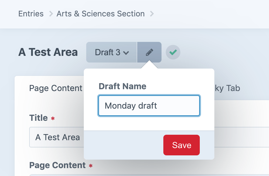 a screen shot showing how to rename a draft in Craft CMS