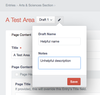 "A screen shot shows the ""Draft Name"" and ""Notes"" field in Craft CMS."