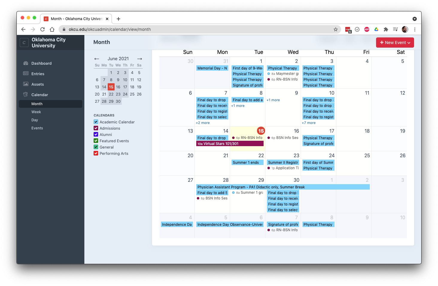 The main calendar page as seen when logged into Craft content management system.
