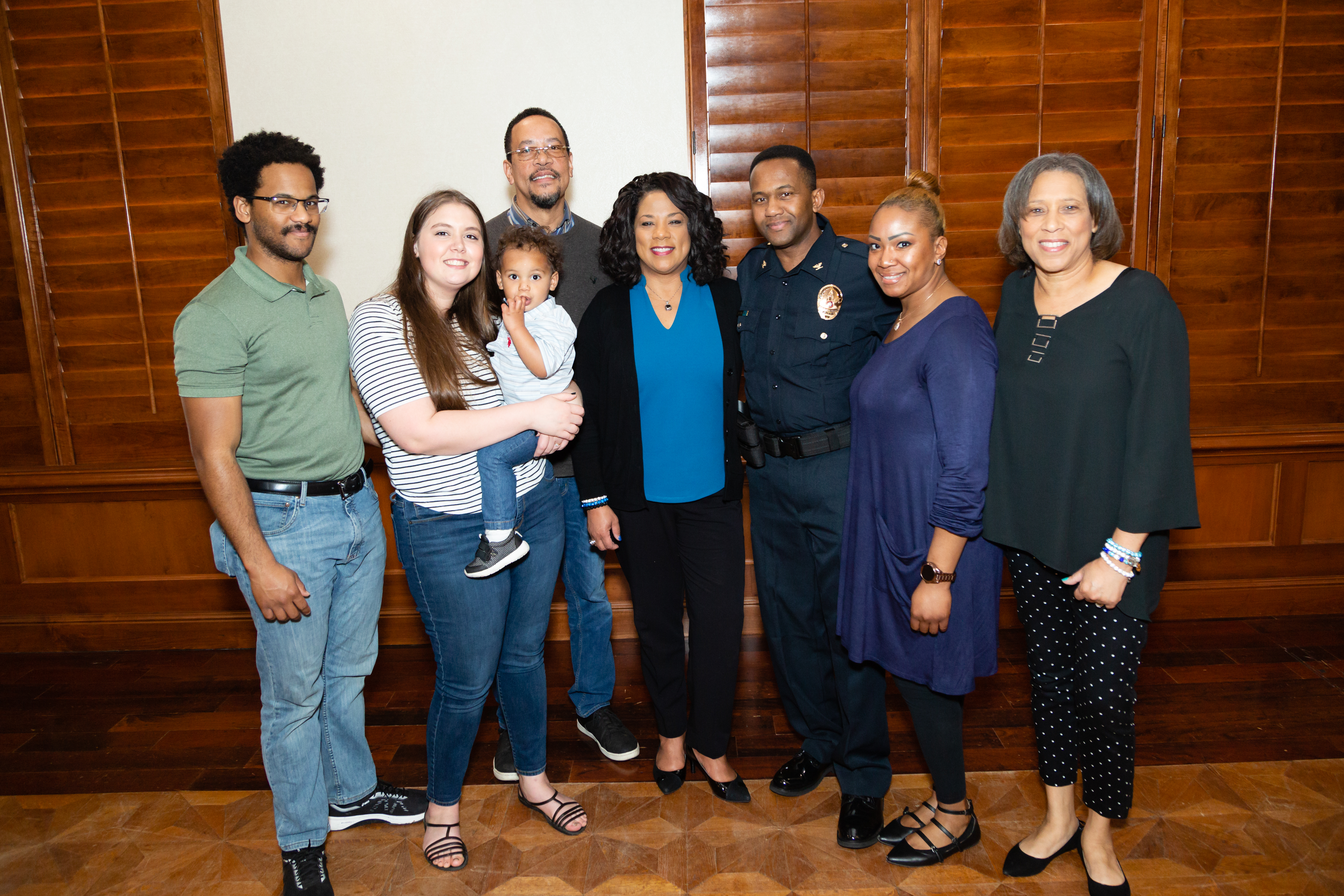 New Chief Nelson surrounded by friends and family at the pinning ceremony.