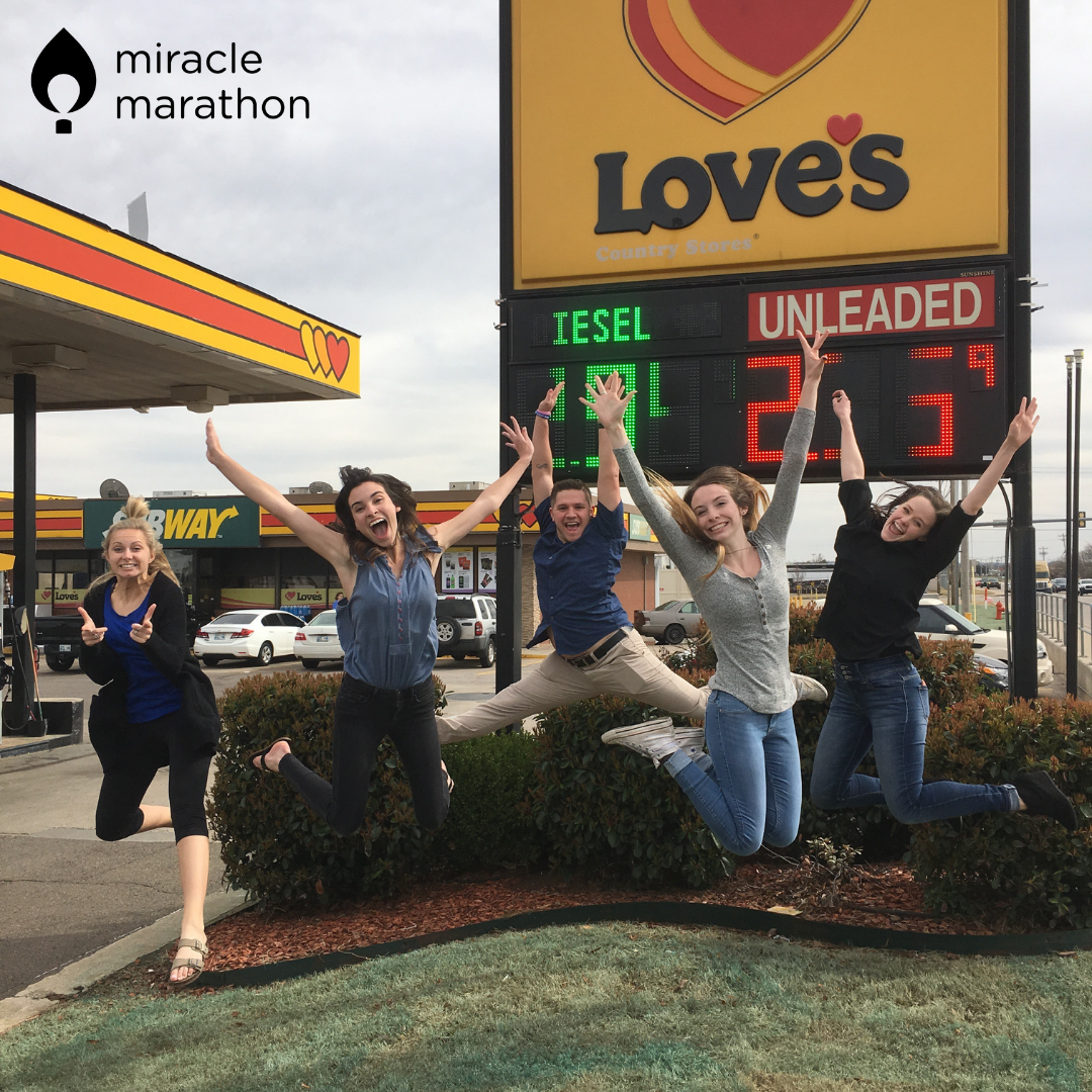 Students celebrating the donation from Love's Travel Stops