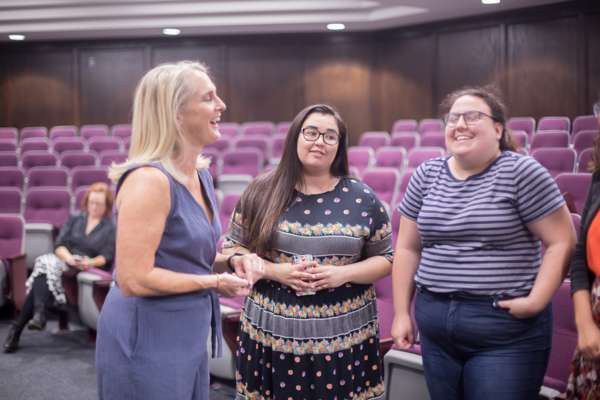 Piper Kerman speaking with OKCU students.