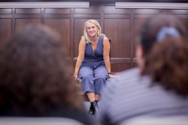 Piper Kerman answering questions from OKCU students.