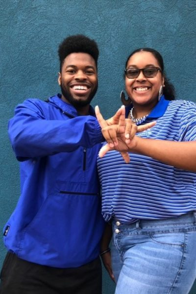 R.J. Walker and Destini Carrington welcome students to Stars Week.