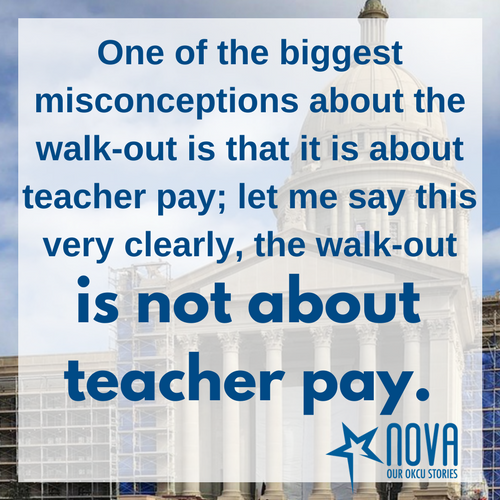 One of the biggest misconceptions about the walk-out is that it is about teacher pay; let me say this very clearly, the walk-out is not about teacher pay.