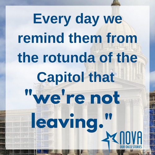 "Every day we remind them from the rotunda of the Capitol that ""we're not leaving!"""