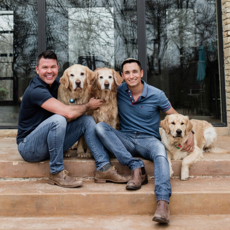 Jim, Phillip and their Golden Retrievers Boo, Bella and Brody.