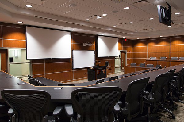 An executive education classroom at OKCU's Meinders School of Business