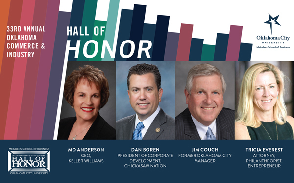 33rd Annual Oklahoma Commerce & Industry Hall of Honor with photos of each of the 4 honorees: Mo Andreson, Dan Boren, Jim Couch, and Tricia Everest
