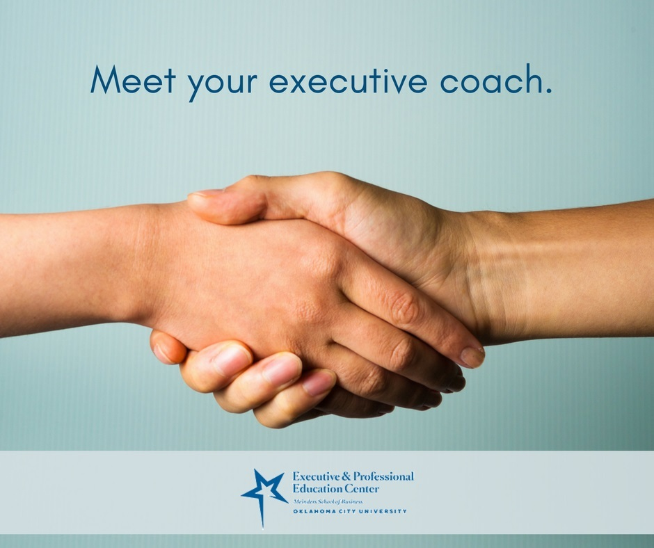 """Meet your executive coach"" - two hands shake in a photo"