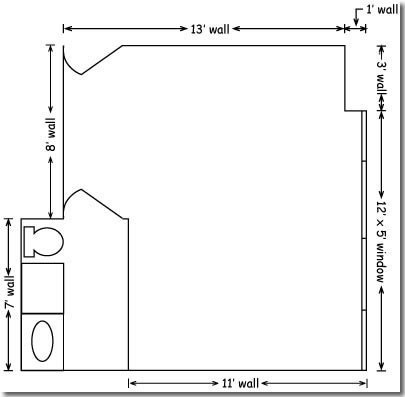 The floor plan of a dorm room in Banning Hall.