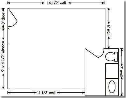 Floor plan of a Harris Hall dorm room.