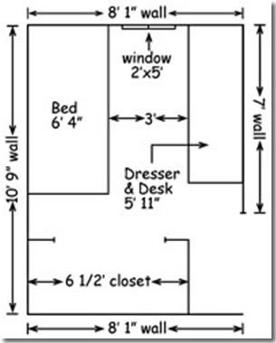 A floor plan of a single dorm room in Walker Hall.