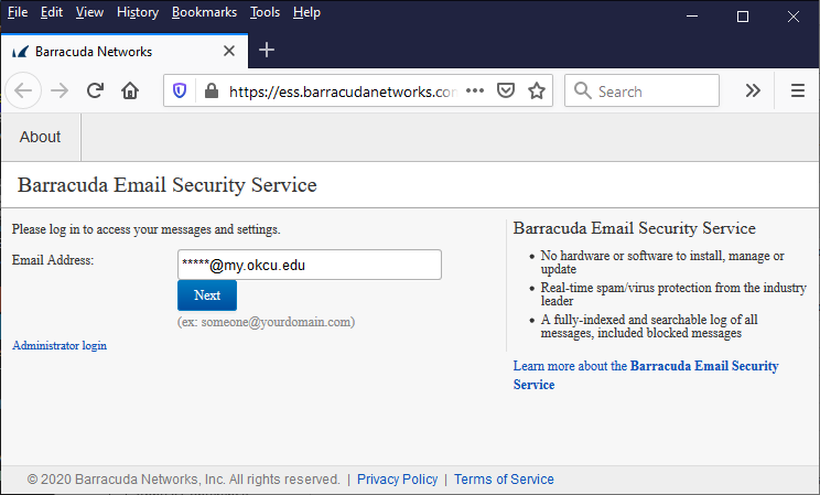 screen shot of the Barracuda email service login page
