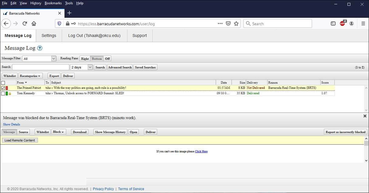 screen shot of the Message Log page in the Barracuda software