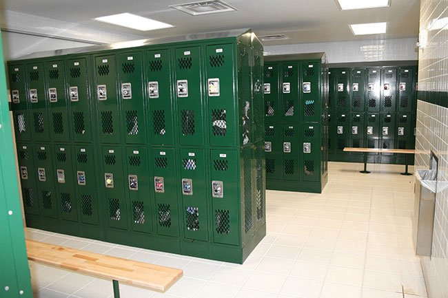 A clean, well-lit locker room inside the Lacy School.