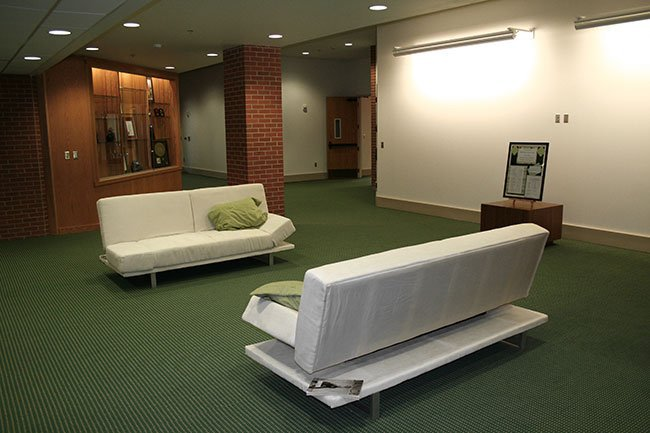 Two sofas in the Lacy Center lounge