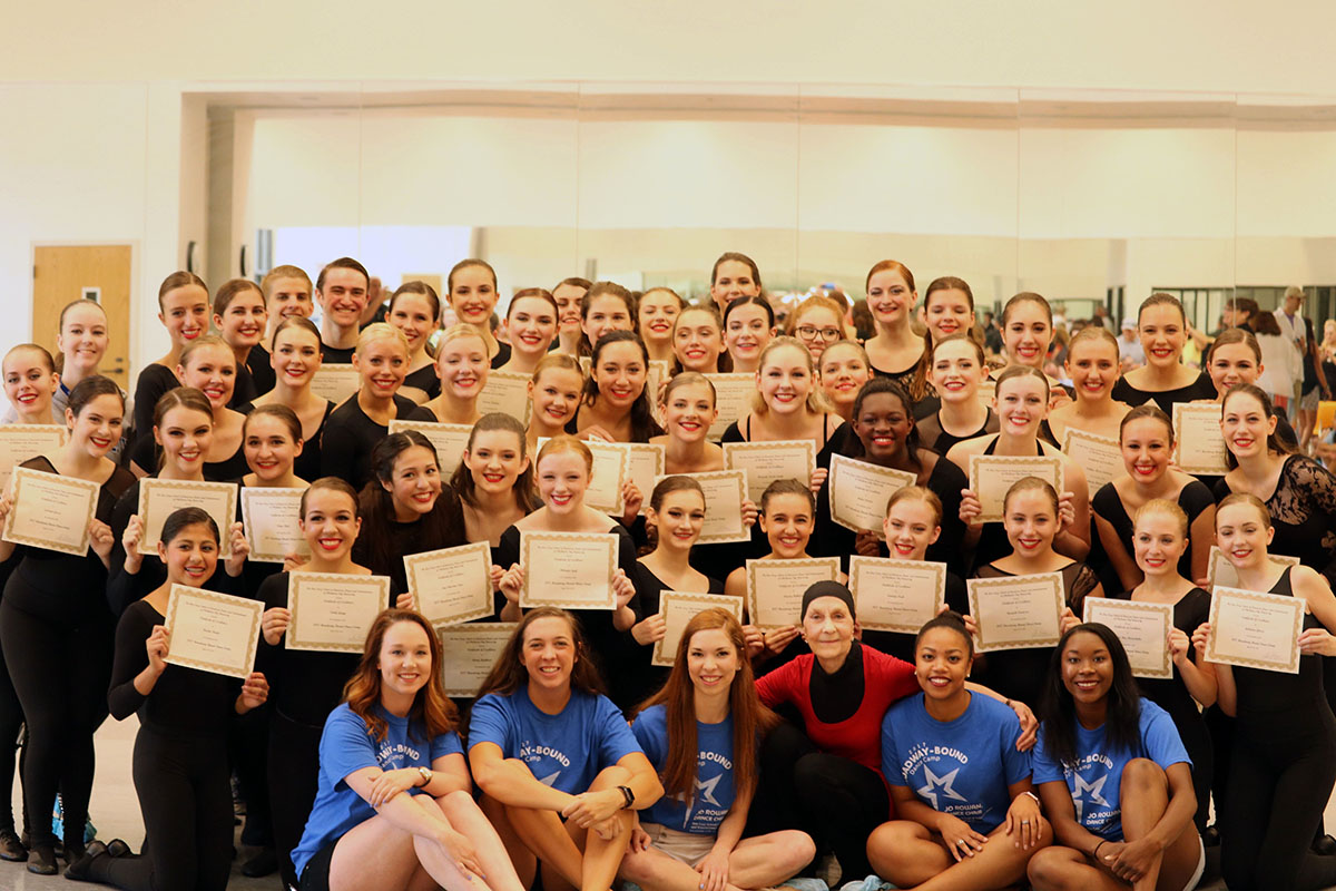 A group photo of several dozen Broadway Bound students