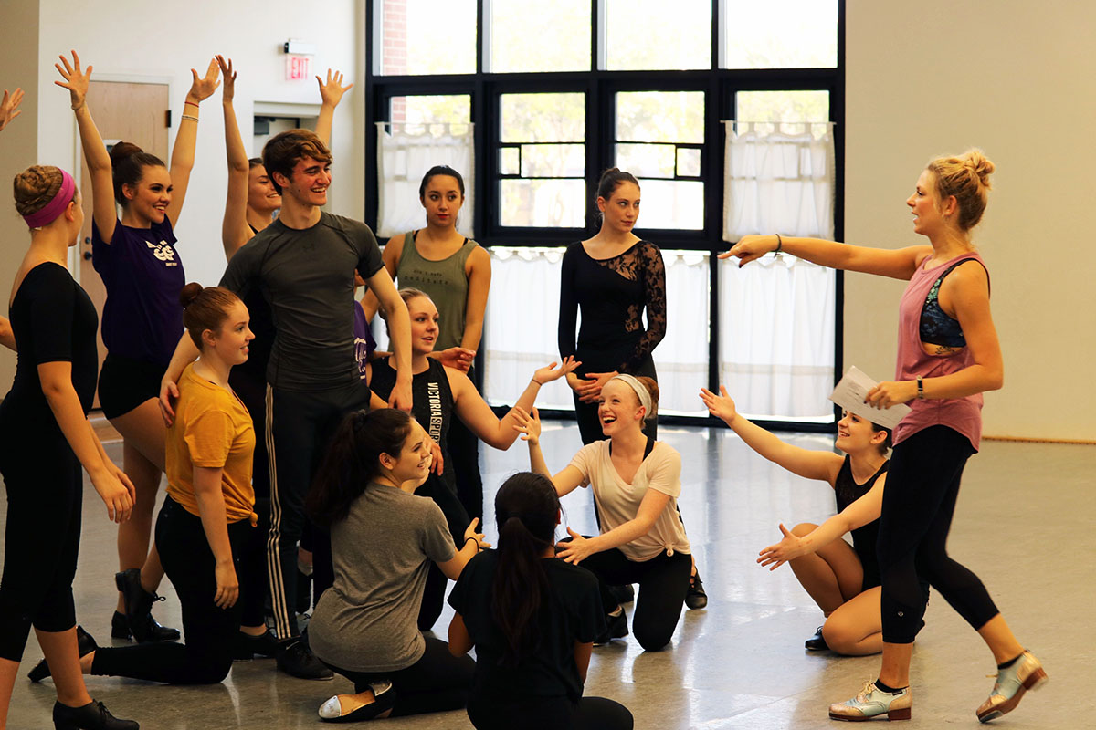 Students prepare for a broadway bound rehearsal