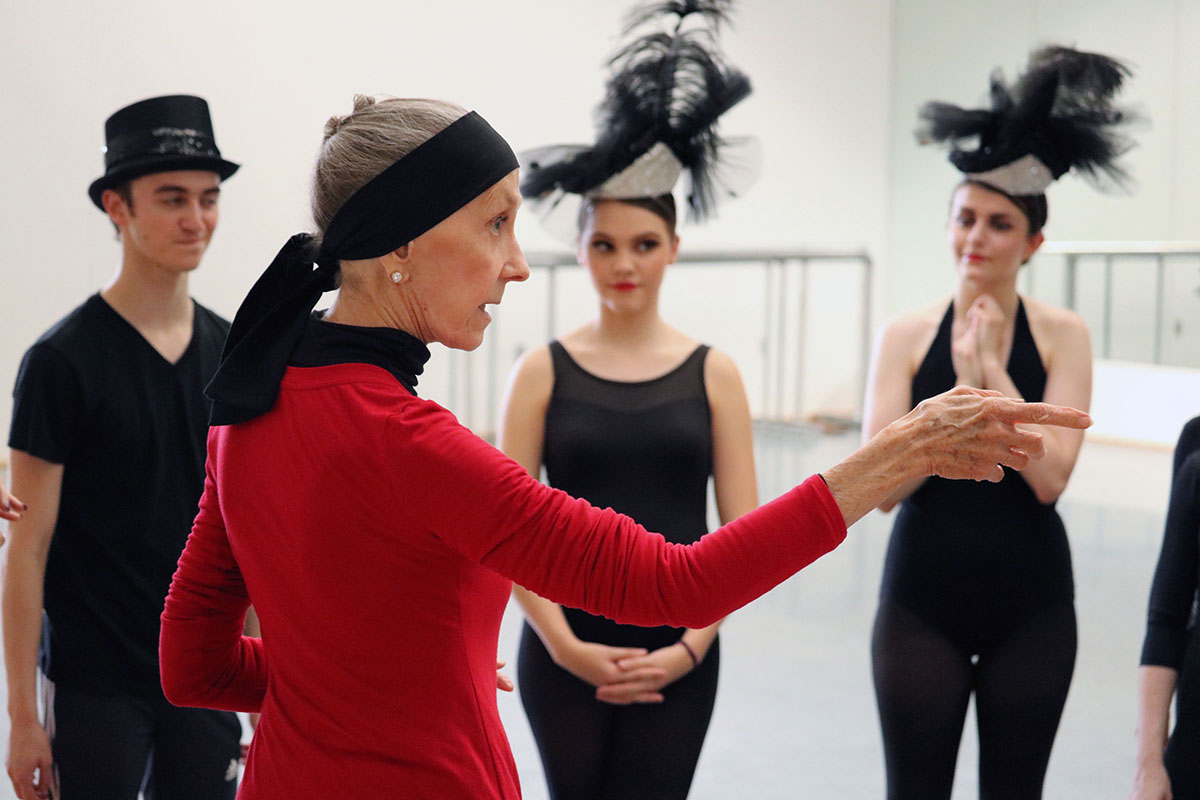 Jo Rowan instructs students at a Broadway Bound camp