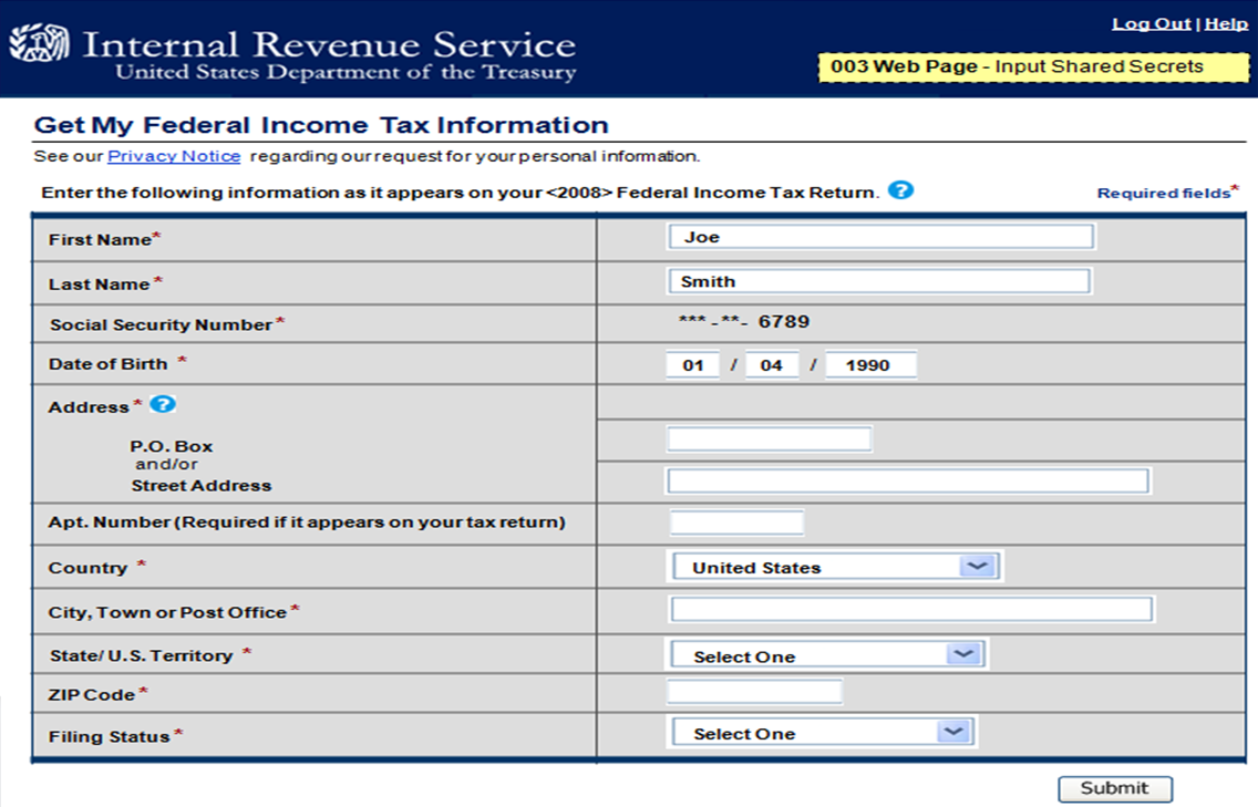 Screenshot of IRS biographical information for the DRT