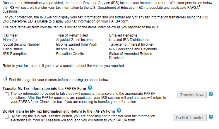 Screenshot of IRS site asking for approval to transfer tax information to the FAFSA