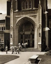 Students leave the administration building, circa 1950