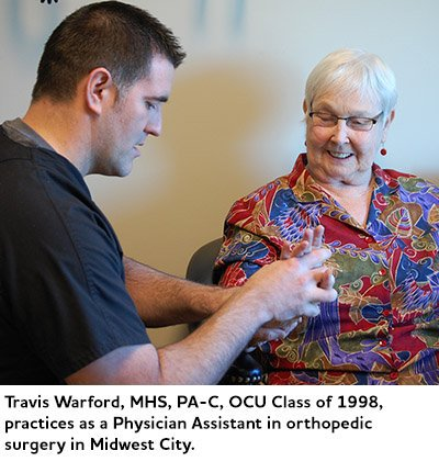Travis Warford, MHS, PA-C, OCU Class of 1998, practices as a Physician Assistant in orthopedic surgery in Midwest City.