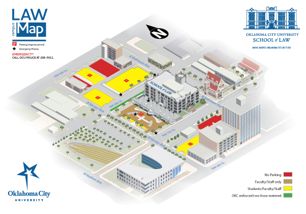 A map of parking lots for faculty, staff, students, and visitors to the OKCU Law campus in downtown OKC.
