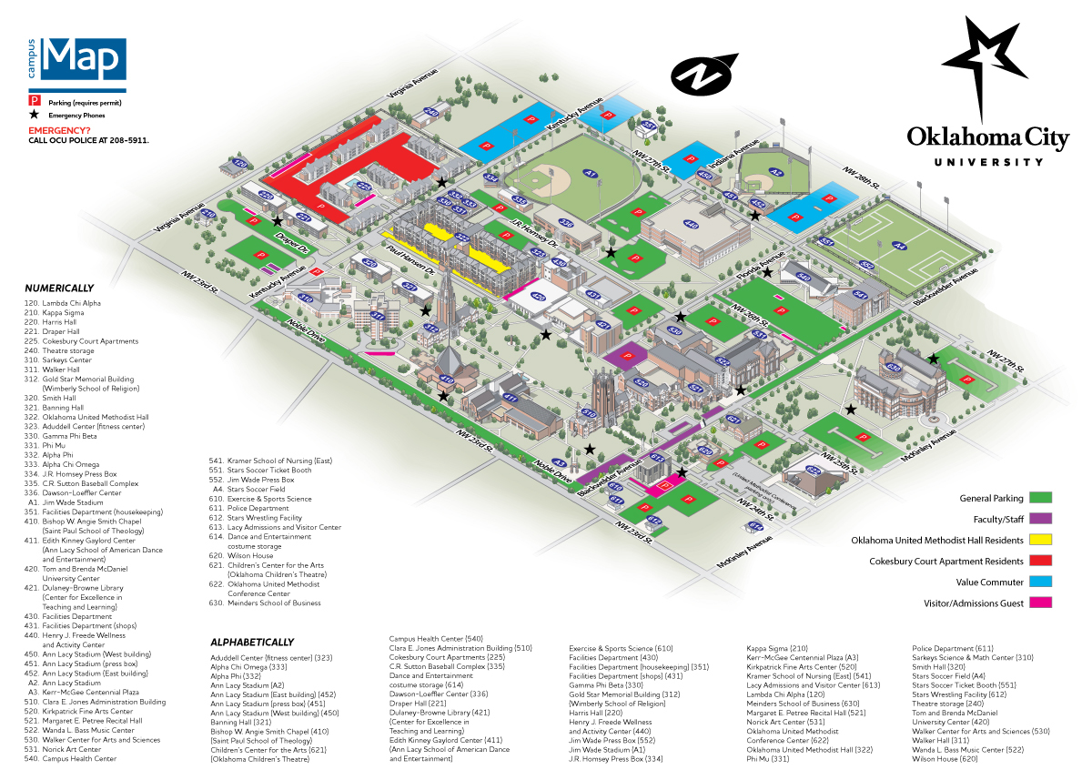 A map of parking lots for faculty, staff, students, and visitors to the OKCU campus.