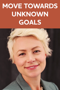 Photo of Allison Barta Bailey (Text: Move Towards Unknown Goals)