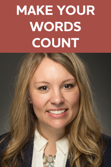 Photo of Kirsten Holder (Text: Make Your Words Count)