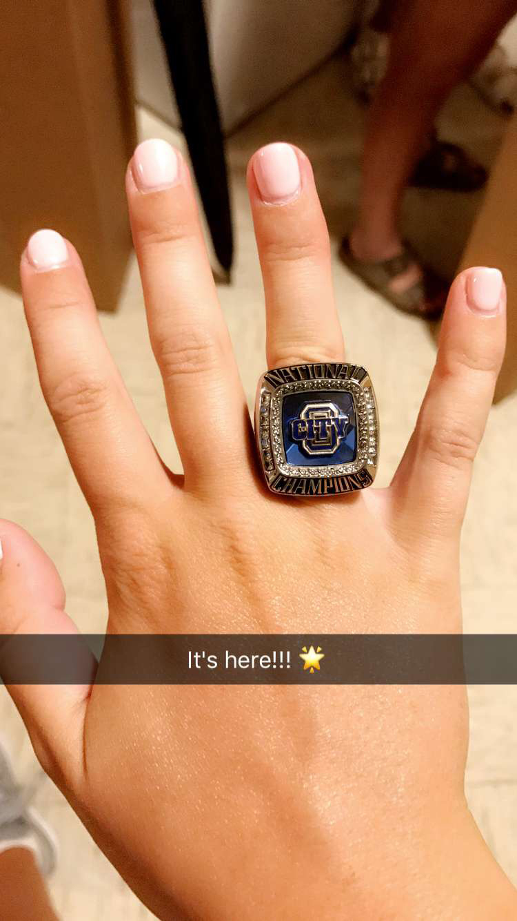 Melissa Eldredge with conference championship ring