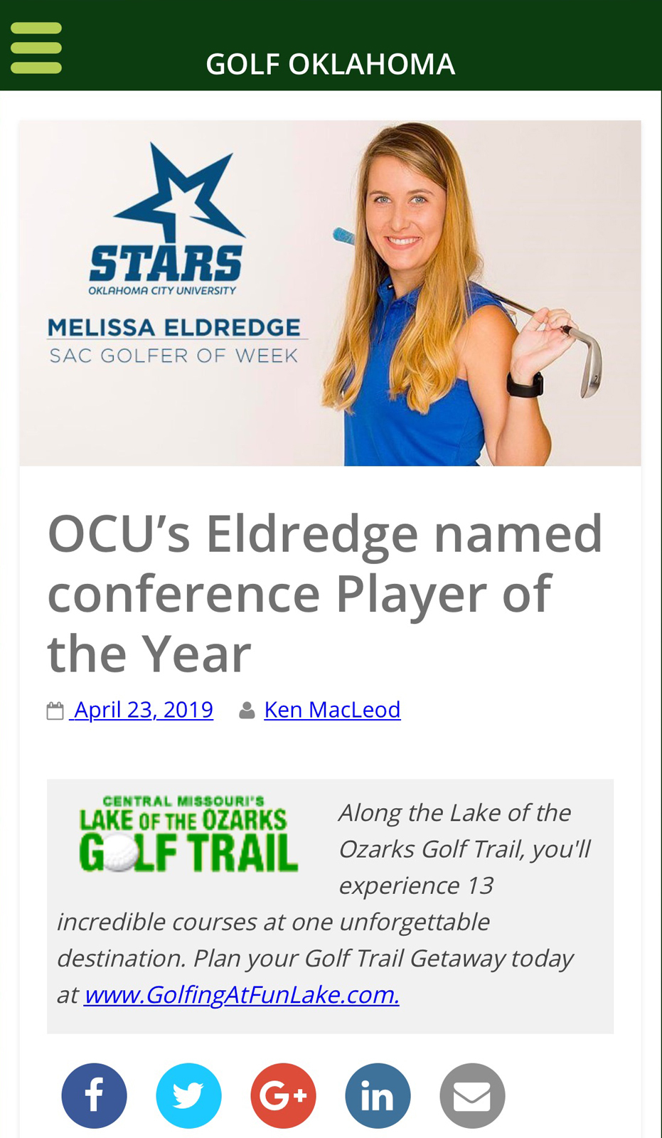 Melissa Eldredge named SAC Player of the Year