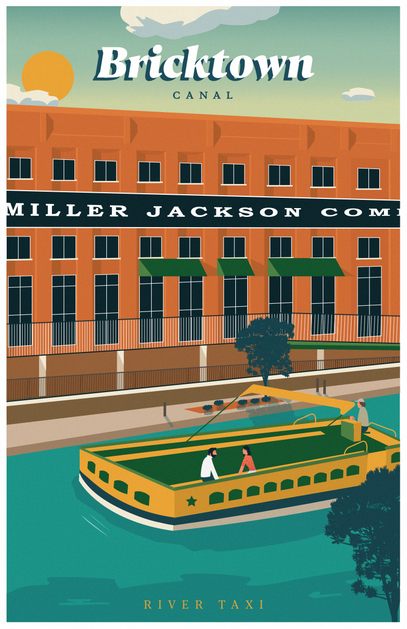 illustration of Bricktown canal with a tour boat in it
