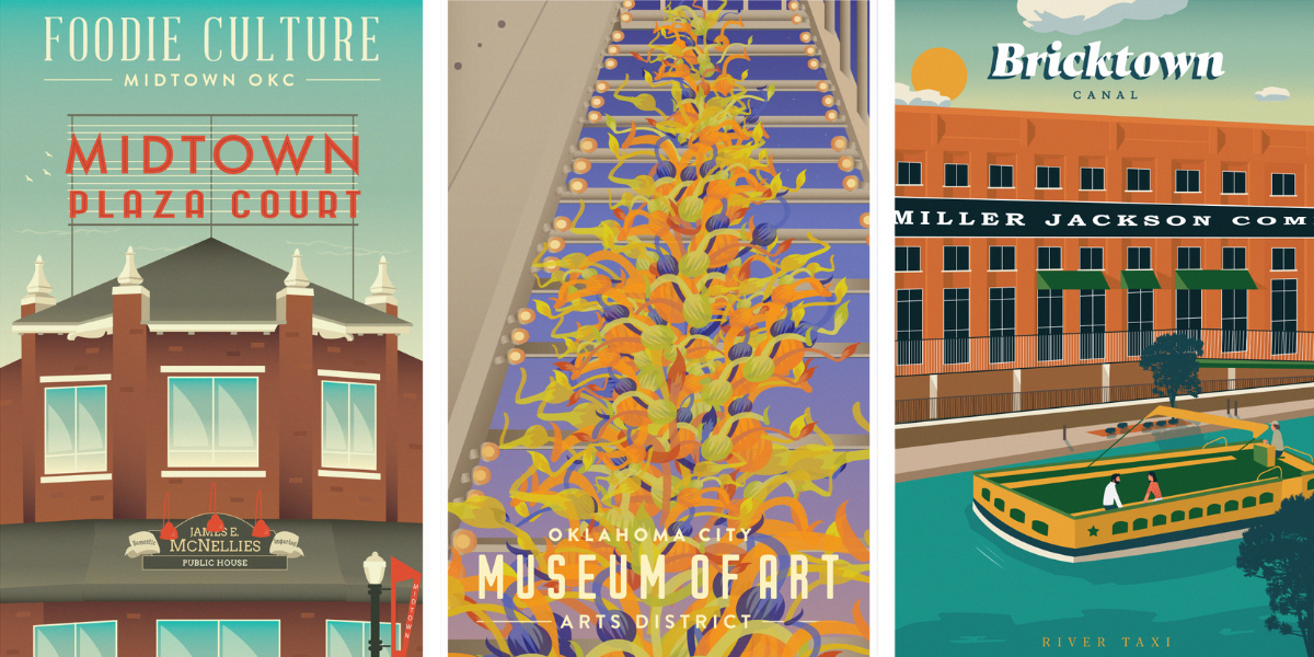 Posters of OKC Districts: Midtown, Arts District, and Bricktown