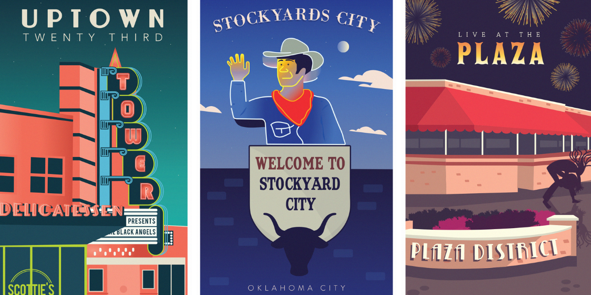 Posters of OKC Districts Uptown 23rd, Stockyards City, Plaza District