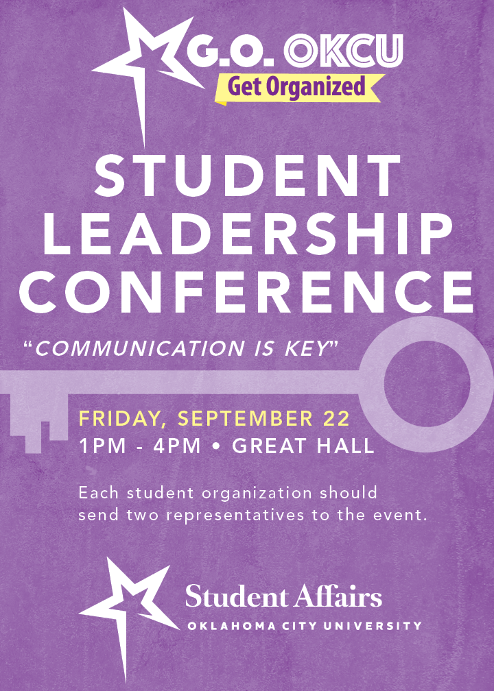 GO OKCU-Friday, September 22, 1pm-4pm, Great Hall, each student organization should send two representatives to the event