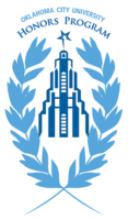Oklahoma City University Honors Program Logo (Gold Star Building with two branches of leaves on either side)